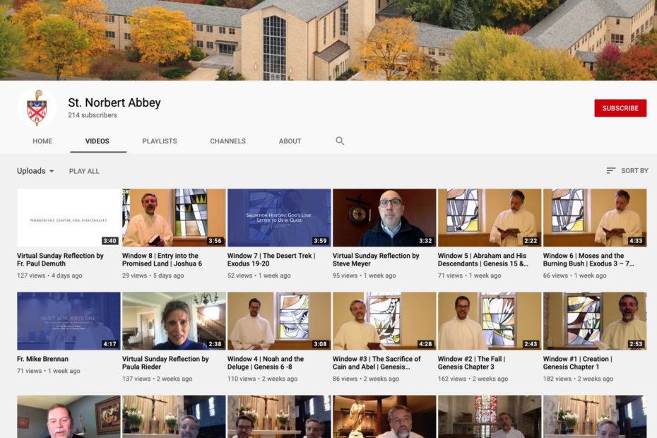 screenshot of St. Norbert Abbey's YouTube channel